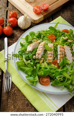 Fresh arugula, lamb's lettuce salad with grilled chicken and nuts - stock photo