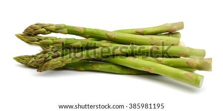 fresh asparagus isolated on white  - stock photo