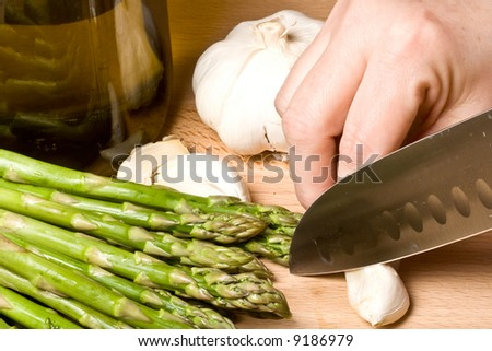 fresh asparagus  on a cutting board healthy