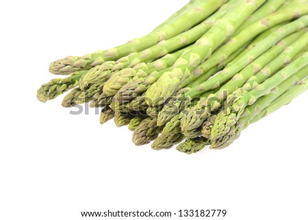 Fresh asparagus on white - stock photo