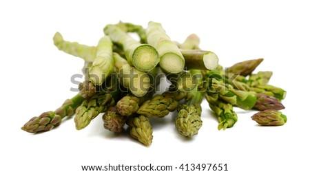 fresh asparagus on white background  - stock photo