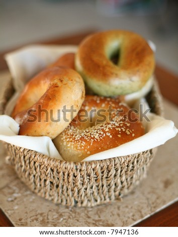 Fresh assorted bagels - stock photo