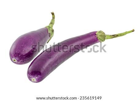 Fresh aubergine isolated on a white background. - stock photo