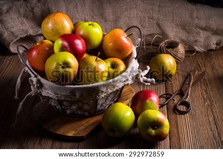Fresh autumn apples in the basket