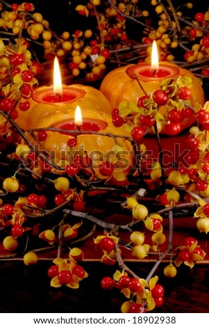 fresh autumn bittersweet vines with berries just popped as table wreath; mini pumpkins with candles - stock photo