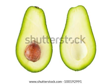 Fresh avocado fruit isolated over white background - stock photo
