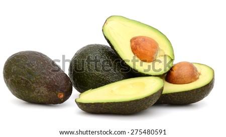 fresh avocado fruits isolated on white  - stock photo