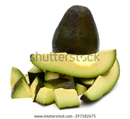 fresh avocado fruits on white background  - stock photo