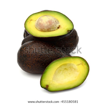 fresh avocados cut slices isolated on white