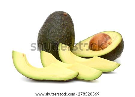 fresh avocados on white background  - stock photo