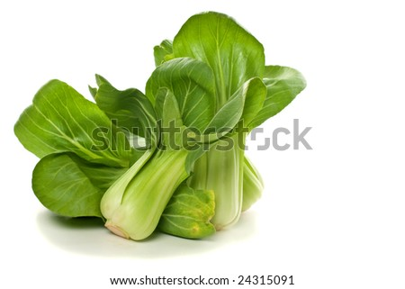 Fresh baby bok choy with it's tender green leaves and crispy stalks - stock photo