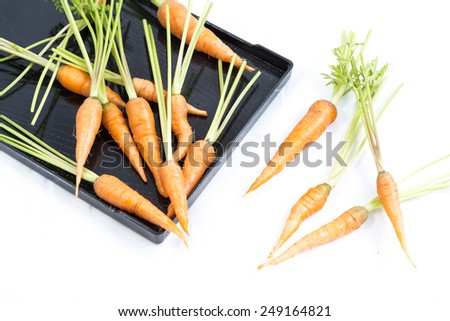 fresh baby carrot on white background
