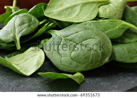 Fresh baby spinach leaves on slate cutting board.  Macro with shallow dof. - stock photo