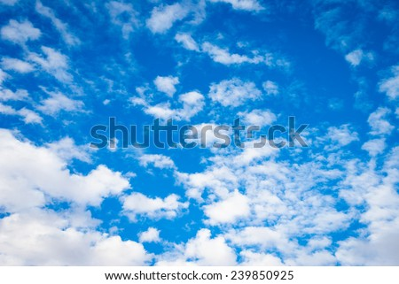 Fresh background image of deep blue sky with fluffy clouds - stock photo