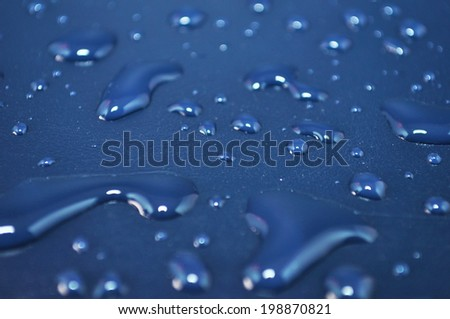 fresh background of water drops on blue surface
