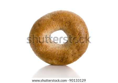 Fresh bagel studio isolated on white background - stock photo