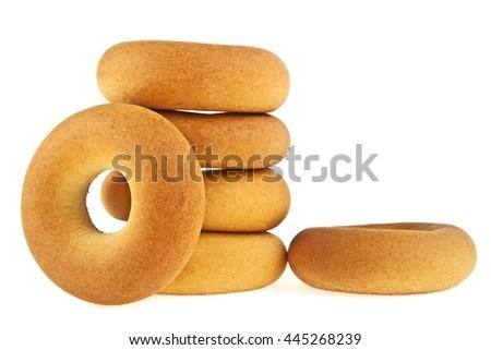 Fresh bagels isolated on white background - stock photo