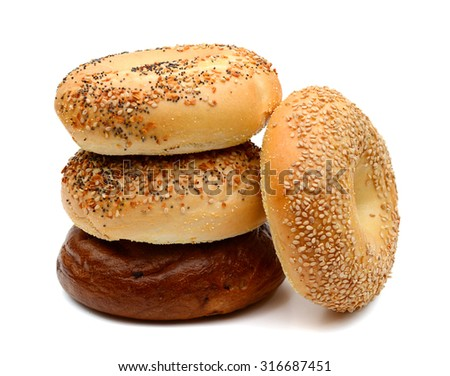 fresh bagels on white background