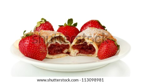 Fresh bagels with strawberry isolated on white