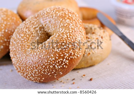 Fresh Baked Bagels Close-up - stock photo