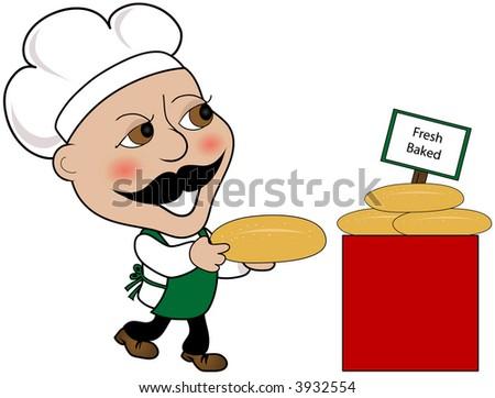 Fresh Baked Bread And Baker Clip Art.