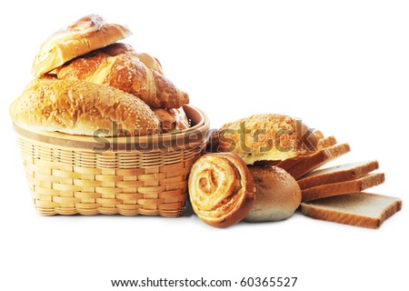 fresh baked bread close up - stock photo
