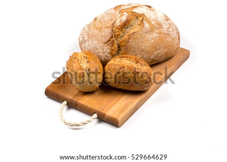 fresh baked bun bread isolated on white