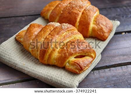 fresh baked buns on table - stock photo