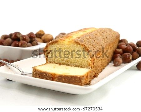 Fresh baked cake with nuts
