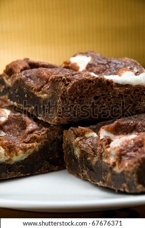 fresh baked chocolate brownie - stock photo