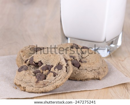 fresh baked chocolate chip cookies - stock photo