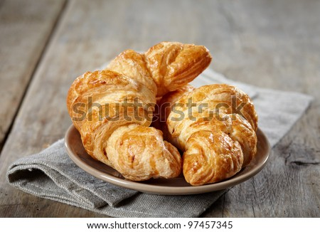 Fresh baked croissants - stock photo