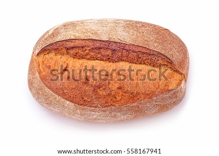 fresh baked crusty bread isolated