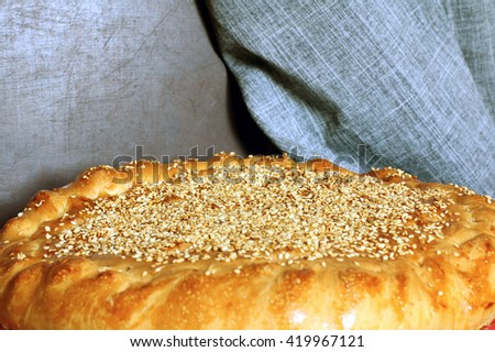 Fresh baked delicious homemade whole round cabbage pie with sesam on the natural linen napkin background just from oven, selective focus, close up, place for text, rectangle image - stock photo