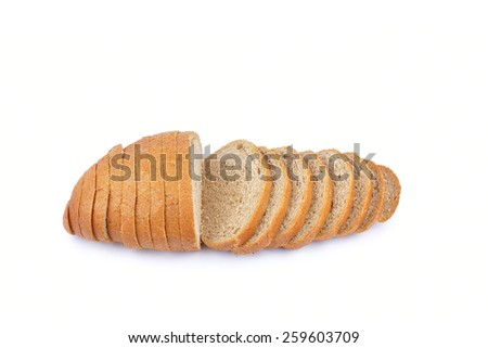 fresh baked from grain bread isolated on white