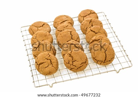 Fresh baked ginger cookies cooling on rack isolated on white background with room for copy