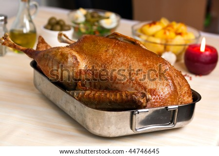 Fresh Baked Goose with potatoes,apple,pepper,olives - stock photo