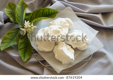 Fresh baked meringues cakes straight from the oven ready to serve. - stock photo