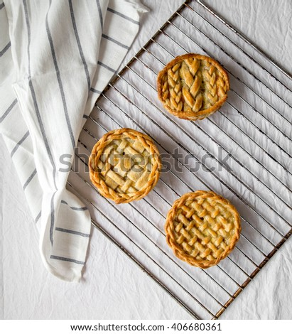 fresh baked mozzarella cheese and cherry tomatoes pie with a lattice crust - stock photo