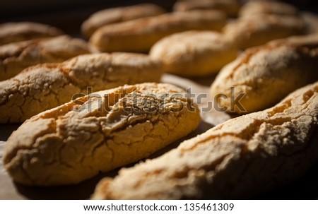 fresh baked rolls - stock photo