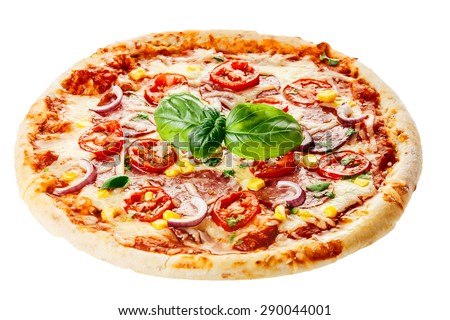 Fresh Baked Rustic Pizza Topped with Tomatoes, Basil and Cheese Isolated on White Background - stock photo