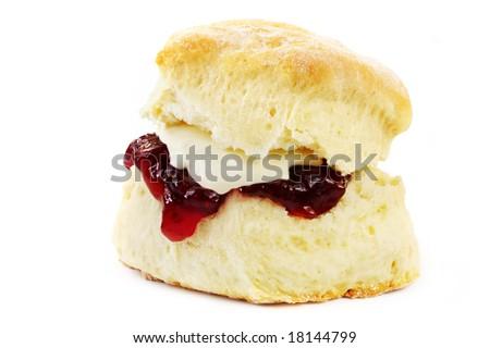 Fresh-baked scone, with strawberry jam and whipped cream.  Isolated on white.  Yummo! - stock photo