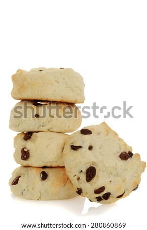 fresh baked scones with fruit - stock photo