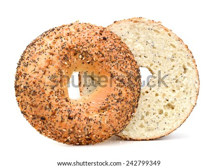 Fresh Baked Sesame Bagel Isolated  - stock photo