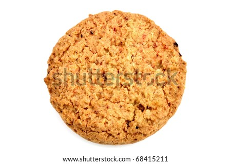 Fresh baked Stack of warm oatmeal cranberry cookies isolated against white background, shallow DOF - stock photo