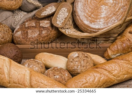 Fresh baked  tasty bread food still-life