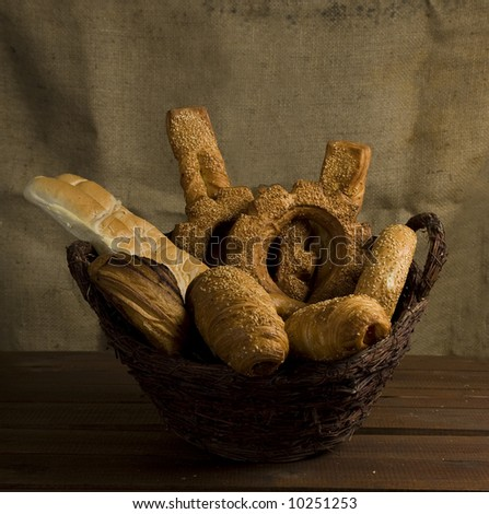 Fresh bakery in a basket - stock photo