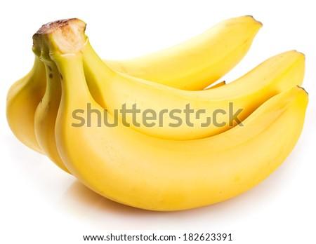 fresh banana isolated on white background - stock photo