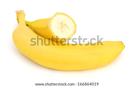 fresh bananas on white background  - stock photo