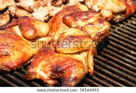 Fresh barbecue chicken on open grill - stock photo